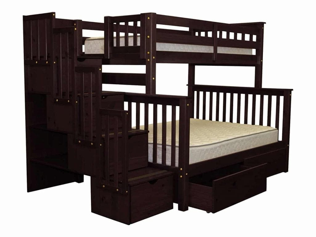 Bedz King Stairway Bunk Bed Twin over Full with 4 Drawers in the Steps and 2 Under Bed Drawers