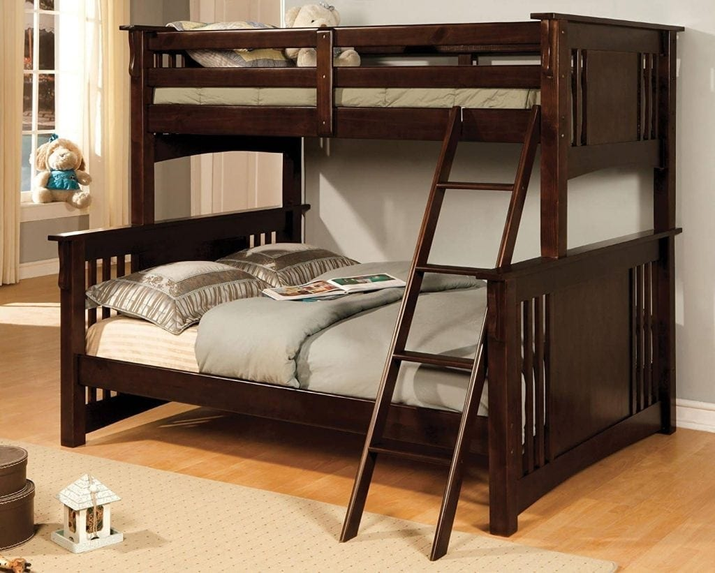 Furniture of America Concord Bunk Bed, Twin:Full, Dark Oak