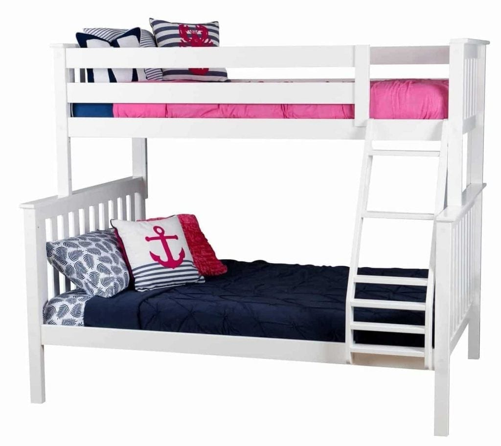 Max & Lily Solid Wood Twin over Full Bunk Bed, White - 2